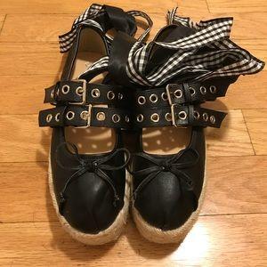 Shoes - Miu Miu inspired lace-up platform espadrilles